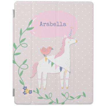Pretty Pink Unicorn Girl's Personalized iPad Smart Cover
