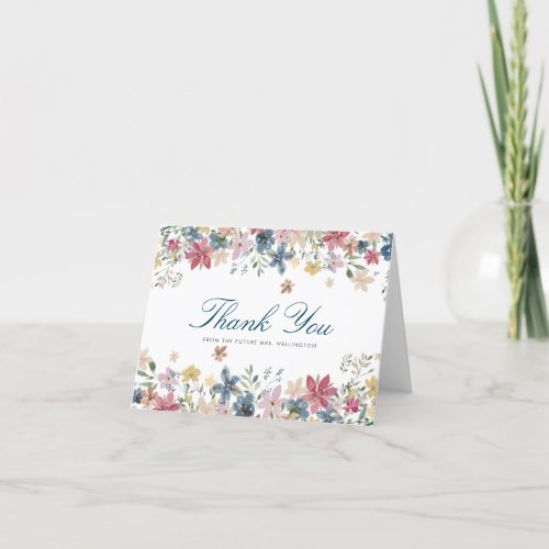 Pretty Pretty Flowers Bridal Shower Thank You Card
