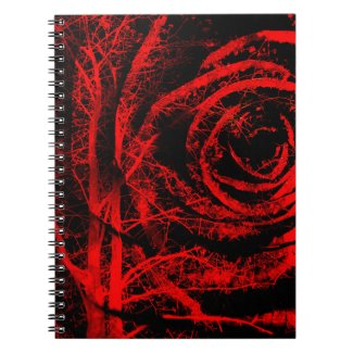 Pretty Red and Black Rose Design Notebook
