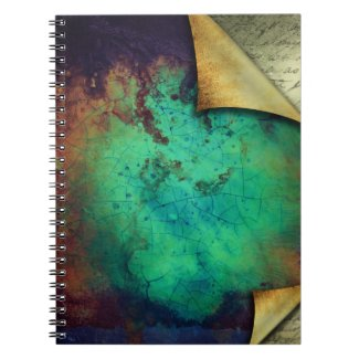 Pretty Rustic Aqua Curling Pages Notebook