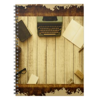 Pretty Rustic Vintage Book Typewriter Writing Spiral Note Books