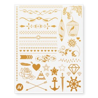 Pretty Shiny Gold Collection Temporary Tattoos