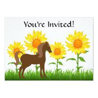 Pretty Sunflower & Horse Birthday Party Invitation