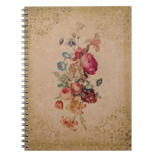 Pretty Victorian Vintage Rose Floral Notebook