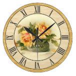 Pretty Vintage Yellow Roses Wood Look Border Large Clock