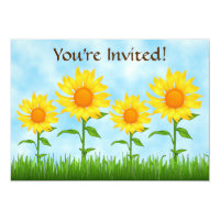 Pretty Yellow Sunflower Birthday Party Invitation