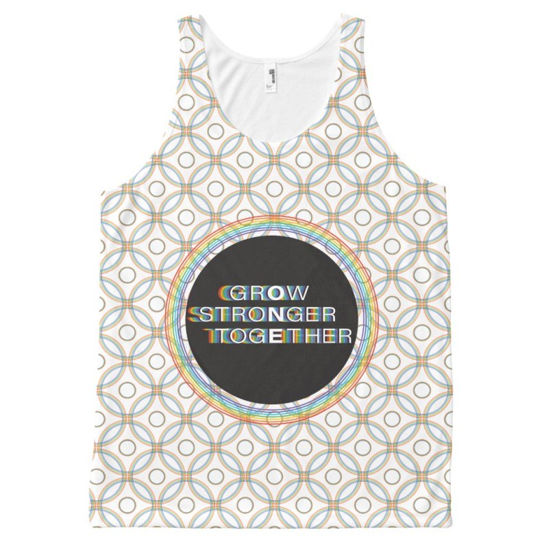 Pride Rainbow Ring Grow Stronger Together Unisex All-Over-Print Tank Top