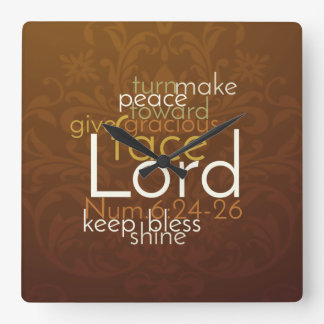 Priestly Blessing on Copper Brown Damask Back Square Wall Clock