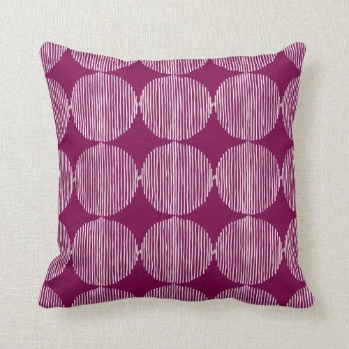 Primitive Geometric Squares Fuchsia Throw Pillow