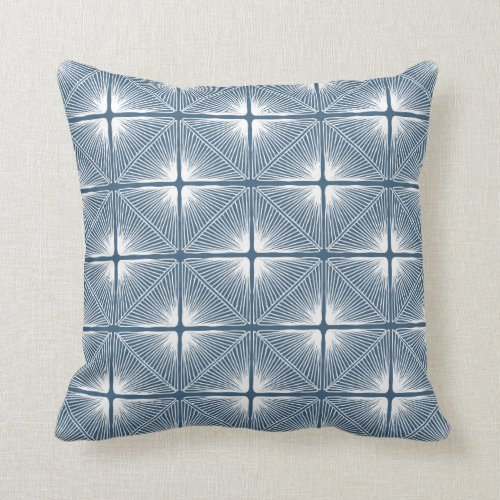 Primitive Geometric Strings in Blue Throw Pillow