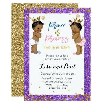 Prince and princess Gender Reveal invite Purple