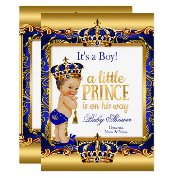 Prince Baby Shower Blue Ornate Gold Brunette Boy Invitation
