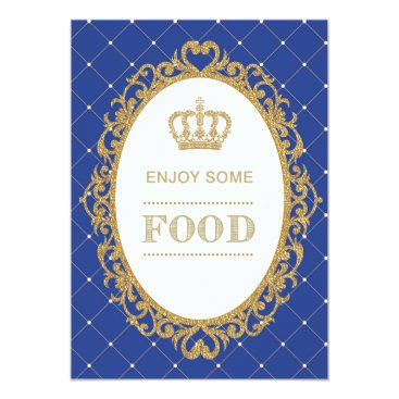 Prince Food Sign Royal Blue Gold Baby Shower Decor Card