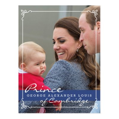 Prince George-William & Kate photo Post card