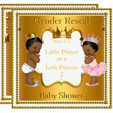 Prince Princess Gender Reveal Baby Shower Ethnic Card