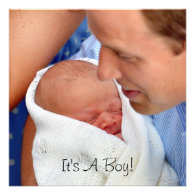 Prince William Holding Newborn Son Invite
