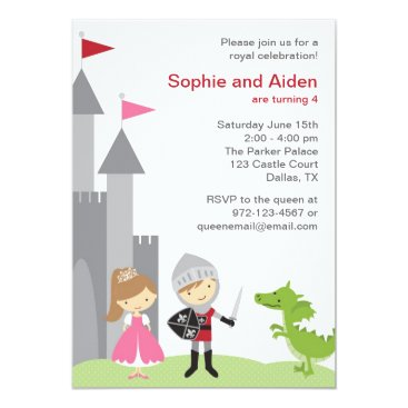 Princess and Knight Birthday Invitations