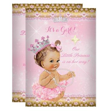 Princess Baby Shower Pink Tutu Gold Tiara Brunette Invitation