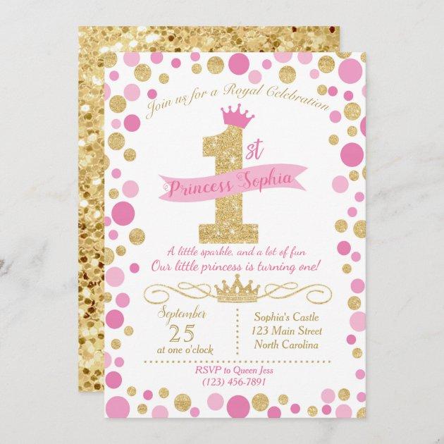princess birthday invitation pink gold zazzle com