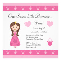 Princess birthday party invitation for girls