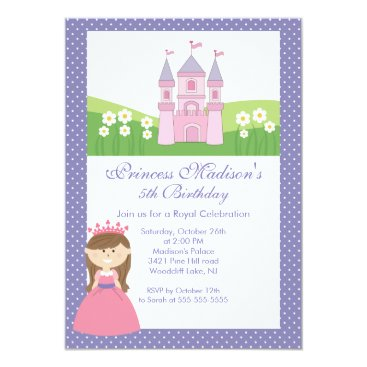 Princess Birthday Party Invitation Pink Purple