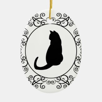 Black Cat Silhouette Ornament