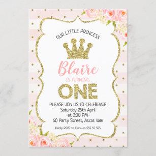 princess 1st birthday invitations zazzle