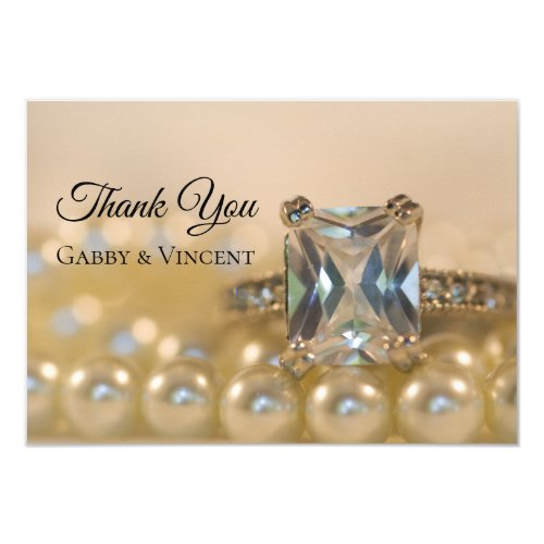 Princess Diamond Pearl Wedding Flat Thank You Note Invitation
