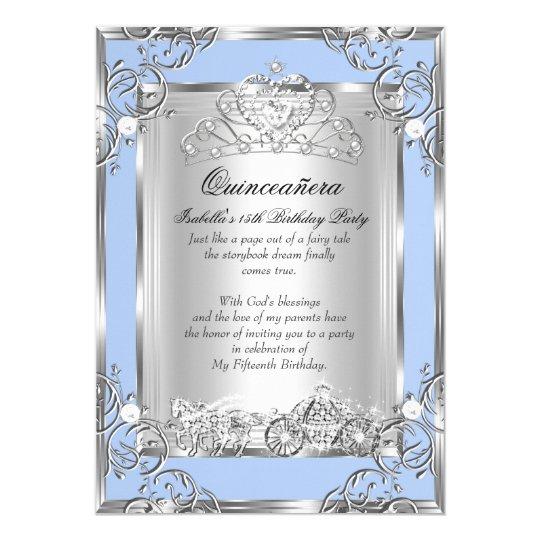 Princess Quinceanera 15th Birthday Blue Silver Card