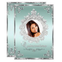 Princess Tiara Mint Silver Sparkle Quinceanera Card