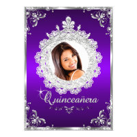 Princess Tiara Purple Silver Sparkle Quinceanera Card