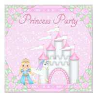 Princess, Unicorn & Castle Pink Princess Party Card
