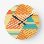 Print rustic geometric triangles. round wallclock
