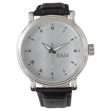 Printed Brushed Aluminum with Initials Watch