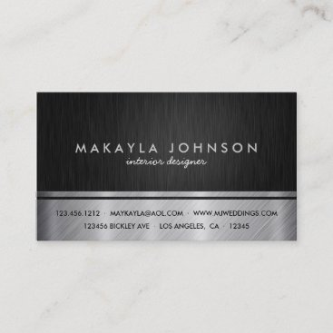 Professional Black and Silver Interior Design Business Card