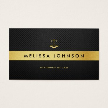 Professional Elegant Modern Black & Gold Attorney Business Card