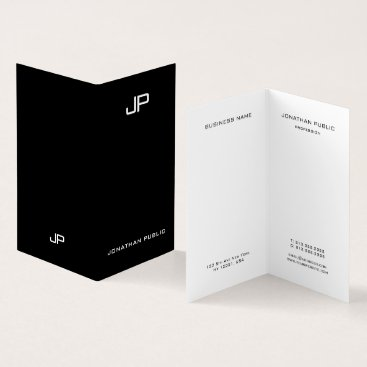 Professional Elegant Simple Modern Monogram Folded Business Card