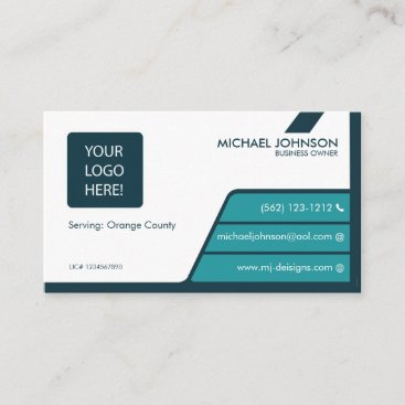 Professional Teal Blue & Dark Green Business Cards
