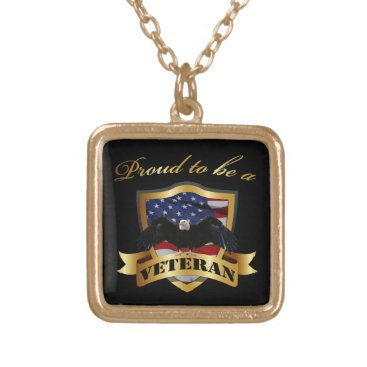 Proud to be a Veteran Gold Finish Necklace