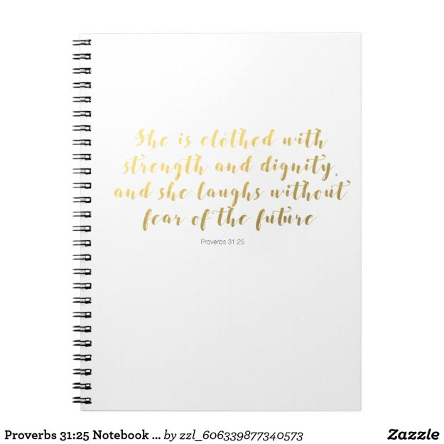 Proverbs 31:25 Notebook - Gold Faux Foil Script