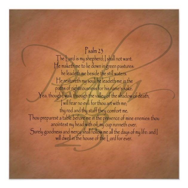 Psalm 23 KJV Christian Bible Verse Poster