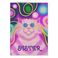 Psy-cat-delic Pink 'Sister' 'groovy birthday' card