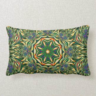 Psychedelic Kaleidoscope 1 (green) abstract Pillow mojo_throwpillow