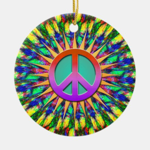 Psychedelic Sunshine Groovy Peace Ornament