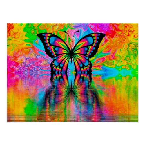 Psychodelic Butterfly Poster