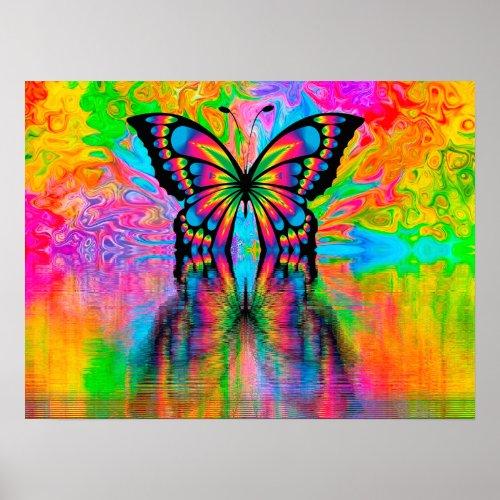 Psychodelic Butterfly Poster