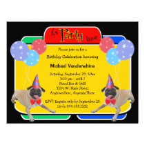 Pug Birthday Barker Announcements