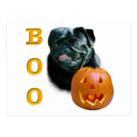 Pug (black) Boo Postcard