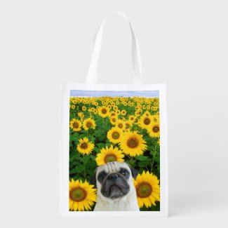 Pug dog in sunflowers grocery bags
