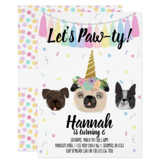 Pug Unicorn Puppy Dog Birthday Invitation